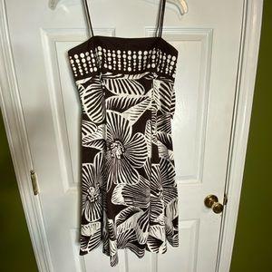 Jones Wear Brown and cream pattern dress